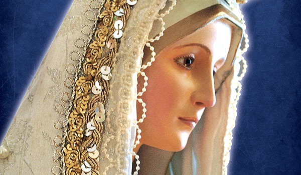 Close up of Mary's face veiled